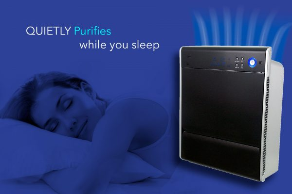 Life Cell 1550 unit, Quietly Purifies, Sleeping woman
